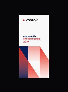 Vostok Blockchain on Behance Graphic Design Posters, Graphic Design Typography, Graphic Design Inspiration, Simple Poster Design, Brand Inspiration, Event Branding, Logo Branding, Identity Design, Brochure Design