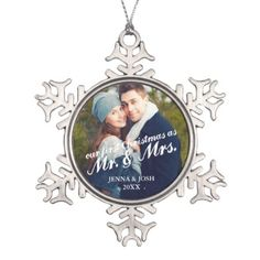 Contemporary First Christmas Mr. & Mrs. Photo Snowflake Pewter Christmas Ornament - click/tap to personalize and buy