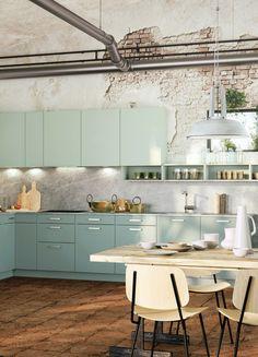 Küche, Klein, Kleine Küche, Küchenzeile, Einzeilige Küche, Wenig Platz,  Hellblau