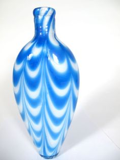 Nailsea Blue Vase - White Interior - Made in New England Cobalt Blue, Blue Green, Blue And White, Glass Flask, Stunningly Beautiful, Bristol, Glass Art, England, Vase