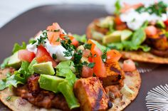 Chipotle Grilled Tofu Tostadas by saidinjest, via Flickr
