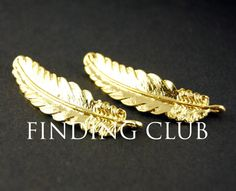 Free Shipping! 4pcs Gold and Silver Feather Charms Connector For DIY Jewelry Making Findings 42x11mm RS449/RS448