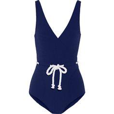 Lisa Marie Fernandez Yasmin seersucker swimsuit ($205) ❤ liked on Polyvore featuring swimwear, one-piece swimsuits, swimsuit, bikini, swim, beach, blue, blue one piece swimsuit, retro one piece swimsuit and v neck one piece swimsuit