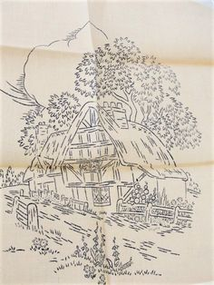 BEAUTIFUL 1930s Embroidery Transfer Includes The Printed Linen Entitled HOMESTEAD Briggs Transfer A23 Vintage Embroidery Craft Pattern
