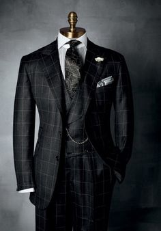 """HABERDASHERY Collection ~ Windowpane has been a standard pattern in HABERDASHERY, men's suiting. And we adore it in home furnishings for the """"sophisticated guy"""" in black, charcoal, and smoke, beautiful wool milled in Italy. Sharp Dressed Man, Well Dressed Men, Dress Suits, Men Dress, Men's Suits, Guys In Suits, Nice Suits, Mens Fashion Suits, Fashion Outfits"""