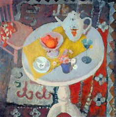 Anne Redpath (Scotland 1895-1965) Still life with Teapot on Round Table (c. .1945) oil on hardboard 75 x 75 cm National Galleries of Scotland