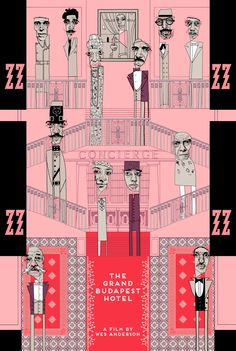 Conor Langton Invites You To The 'Grand Budapest Hotel' For His Grand Return To Illustration With His Latest Screen Print Grand Budapest Hotel Film, La Famille Tenenbaum, Wes Anderson Movies, Grande Hotel, The Royal Tenenbaums, Sketches Of People, Movie Poster Art, Poster Poster, Film Posters