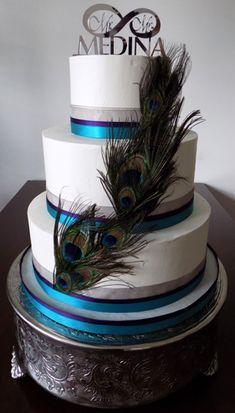 3 Tier peacock themed buttercream wedding cake. Wedding Cakes Manchester PA