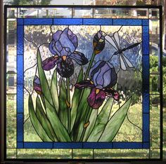 """Purple Iris with Buds-- 28 3/4"""" x  28 3/4""""--Stained Glass Panel by StainedGlassArtist on Etsy https://www.etsy.com/listing/112902571/purple-iris-with-buds-28-34-x-28-34"""