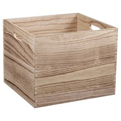 "The Large Natural Wood Milk Crate by Pillowfort is a smart storage solution. The lightweight Paulownia wood crate can be doubled up and stacked on top of each other or on their sides. The wooden stackable crates have cut-out handles for easily transporting items around your house.  The bin measures 11"" H x 13"" W x 14"" D and weighs 3.09 pounds.  These bins are designed to be stacked no more than two high."