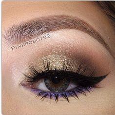 gold smokey eye with purple underneath