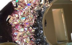Recycling Project – Part 2 – Recycling the Foil from Old DVDs | Sue Findlay Designs Resin Crafts, Resin Art, Painting Activities, Round Mirrors, Art Tutorials, Mixed Media Art, Recycling, Designers, Interior
