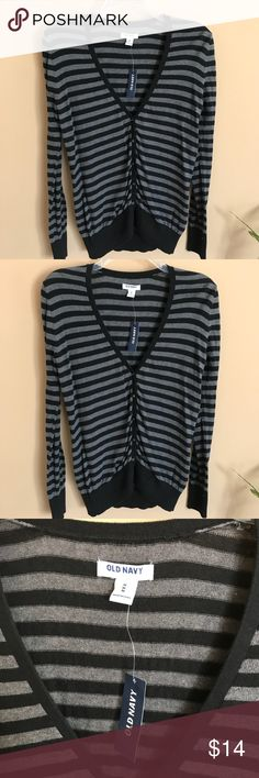 Old Navy Gray & Black Striped Cardigan ~ NWT Brand new with tags!  Old Navy Striped Cardigan  Gray & black stripes   Button down Cardigan with a v-Neck  Pulled look around the buttons  Size: Medium Old Navy Sweaters Cardigans