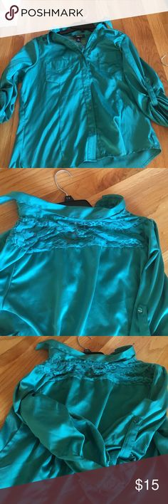 3/4 sleeve blouse Turquoise 3/4 sleeve button down blouse with lace in the back Iz Byer Shirts & Tops Blouses