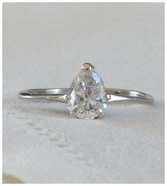 A Pear Shaped Diamond Solitaire Engagement 14kt White Gold Ring - Zoe