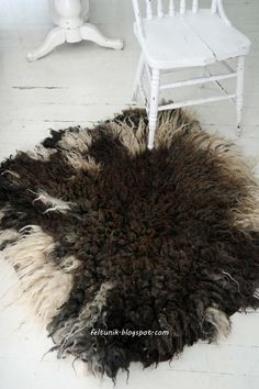 Felted rug from a beautiful raw fleece