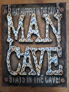 """Tin Sign Dorm Room Decor features the MAN CAVE rule. The rule is """"what happens in the MAN CAVE, stays in the CAVE!"""" This funny tin sign looks cool in any guy's dorm room or college apartment and is made to hang clean on walls causing no damage. Man Cave Designs, Switch Plate Covers, Light Switch Plates, Vintage Tin Signs, Vintage Metal, Vintage Decor, Retro Vintage, Man Cave Tin Signs, Man Cave Metal"""