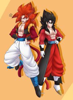 Dragon Ball Z, Gogeta E Vegito, Twitter Link, Fan Art, Manga, Anime, Ssj 4, Dragons, Dragon Dall Z