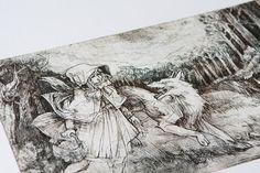 Little red riding hood   Original etching print