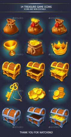 Buy Treasure Golden Game Icons with Chests by ververver on GraphicRiver. 15 icons treasure and gold icons with chests, each icon is about but they will look better if you use it l. Game Ui Design, Icon Design, Chicano, Treasure Games, Coin Icon, Casual Art, Game Props, Video Game Development, Mobile Art