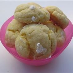 Gooey Butter Cookies - cream cheese, butter, egg, cake mix, vanilla, powdered sugar