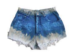 Vintage Blue Bleached Super Destroyed Shorts
