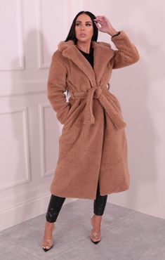 Up your winter slay this season and score some serious fashion points in the Camel Borg Belted Teddy Midi Coat. In a luxe on trend teddy borg material, this belted midi coat is amaze teamed with PU leggings and a fluffy jumper. Camel Coat, Fur Coat, Teddy Bear Coat, Deepika Padukone, Alexander Wang, Lounge Wear, Casual, Winter Outfits, Leather Jacket