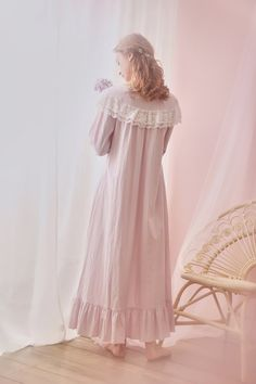 Ever Young Cotton Lace Vintage Long Sleeve Night Gown Fall – Prinsty