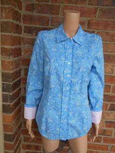 LILLY PULITZER Paisley Blouse Size 6 (S) Pink Label Ruffle Shirt Top Long Sleeve #LillyPulitzer #Blouse #Casual