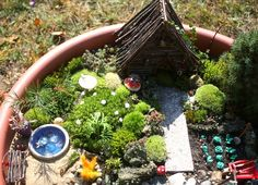 A darling fairy garden -- complete with instructions on how she made most of the items within.