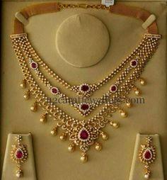 Three Layers Spectacular Diamond Set | Jewellery Designs