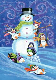 Adorable snowman and penguins!