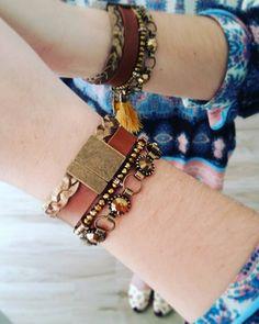 Mix de pulseiras divo #couro #miçanças #berloques #franja #ilove #atelie #acessorios