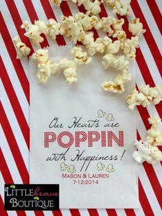 Popcorn Bags, Wedding favor bags, birthday party, Favor bags, Wedding, Bridal Shower,CUSTOM COLOR,Set of 24