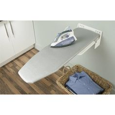 Wall Mounted Ironing Board by Hafele, easy installation & storage, folding white and gray stripes, Mudroom Laundry Room, Laundry Room Design, Ironing Station, Iron Board, Tiny Spaces, Steel Wall, House Rooms, Grey Stripes, Aluminium