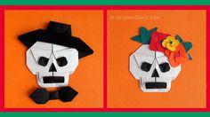 How to make an Origami Skull -Sugar Skull : : Calavera en origami, día de los muertos, day of the dead, catrina, skull, halloween