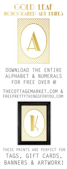 Monogram Printables: Free Gold Leaf Art Prints - Free Pretty Things For You
