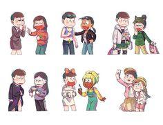Osomatsu, Karamatsu, Choromatsu, Ichimatsu, Jyushimatsu, Todomatsu, Osoko, Karako, Choroko, Ichiko, Jyushiko, and Todoko