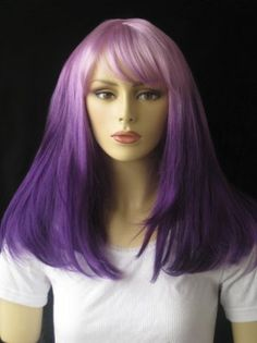 Dark and light purple dip-dyed wig