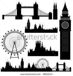Vector illustration of the various landmarks of London - stock vector