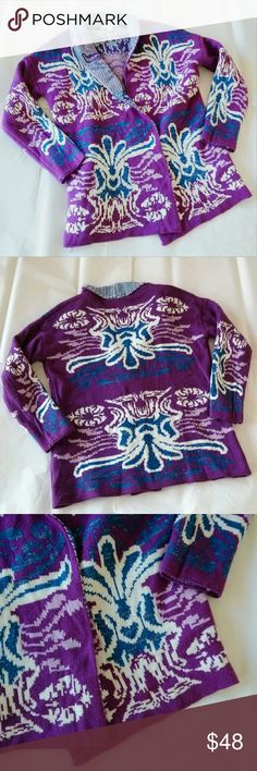 "Francesca's Mi ami Purple Blue Sweater Jacket Gorgeous sweater jacket in statement purple & blue Francesca's mi ami collection. Features blue & white print similar to fleur de le & gold metallic thread. Size medium. Measures approx: 22"" across armpit to armpit, 26"" length top of shoulder to bottom hem, 18"" sleeve length, 28"" length from sleeve cuff to collar. Two snap closures (4th photo). Great ready to wear condition : ) Get the look of Anthropologie, Free People & Urban Outfitters. {No…"