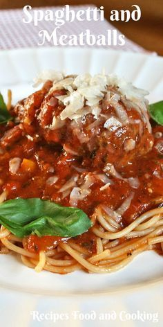 Spaghetti and Meatballs Old fashioned meatballs served in a chunky spaghetti sauce with fresh basil, topped with fresh parmesan cheese, this is the way I make Spaghetti and Meatballs.