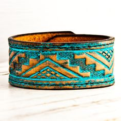 Turquoise Wristband Tribal Gypsy Fashion OOAK by rainwheel on Etsy Leather Cuffs, Leather Tooling, Leather Jewelry, Tooled Leather, Leather Bracelets, Leather Belts, Jewelry Accessories, Jewelry Design, Leather Projects