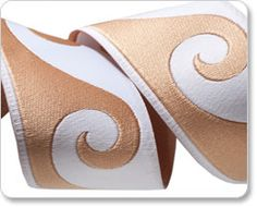 White and Sand Sandy Waves Ribbon