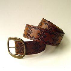 70s vintage Boho Latigo Hand Tooled Brown Leather Belt. $56.00, via Etsy.