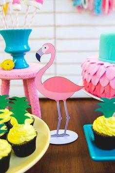Flamingo standee from a Tropical Flamingo Birthday Party on Kara's Party Ideas   KarasPartyIdeas.com (7)