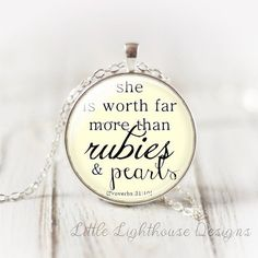 She Is Worth Far More Pendant Necklace Large by LittleLighthouseD