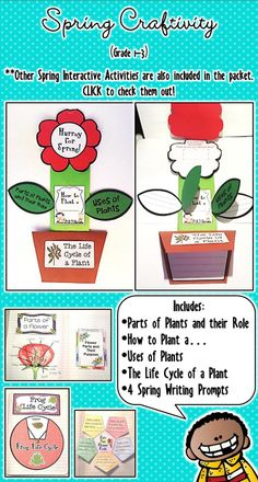 Spring, Spring Activities: 69 pages - Spring is in the air and we all care!! Loaded with 15 supplemental interactive and fun activities for your students' journal. This pack is a great way to integrate with your Spring theme or lesson in your classroom. Simply print the pages, cut, assemble and stick them in your notebook.