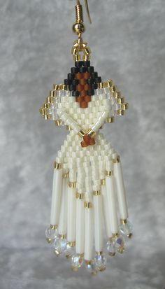Beaded Angel Earrings in Ivory by DsBeadedCrochetedEtc on Etsy Angel Earrings, Bead Earrings, Baby Cardigan Knitting Pattern, Beaded Angels, Brick Stitch Earrings, Native American Beading, Beaded Ornaments, Christmas Jewelry, Handmade Beads