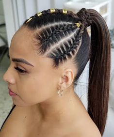 New Trend Braided Hair Ideas │ Braid Hair Styles Saloon Hair Braided Ponytail Hairstyles, Dance Hairstyles, Ponytail Styles, Baddie Hairstyles, Braid Styles, Braided Hairstyles, Curly Hair Styles, Cool Hairstyles, Natural Hair Styles